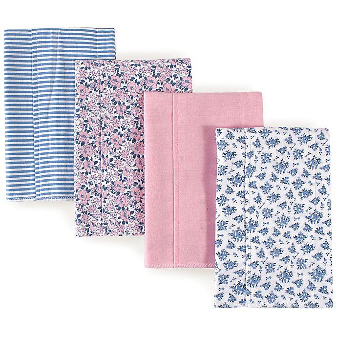 Alternate image 1 for Hudson Baby 4-Pack Floral Burp Cloth Set in Blue