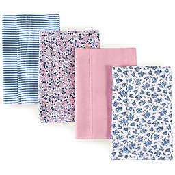 Hudson Baby 4-Pack Floral Burp Cloth Set in Blue