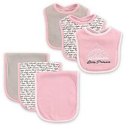 BabyVision® Hudson Baby® 6-Piece Princess Bib and Burp Cloth Set in Pink