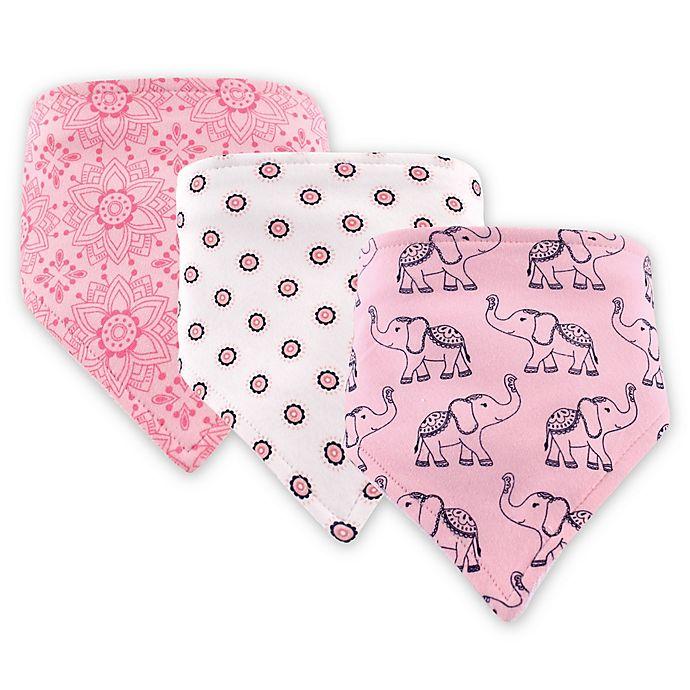 Alternate image 1 for Hudson Baby 3-Pack Elephant Bandana Bib Set in Pink