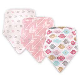 Hudson Baby 3-Pack Aztec Bandana Bib Set in Pink