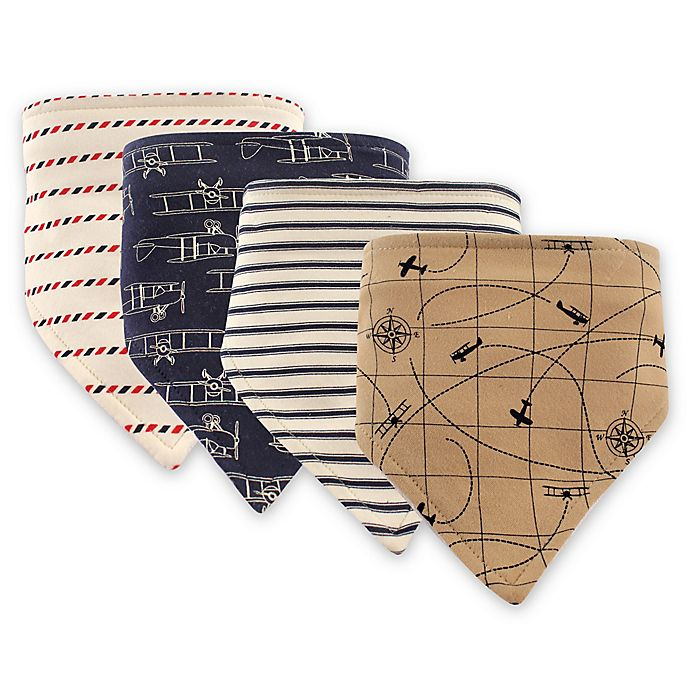 Alternate image 1 for Hudson Baby 4-Pack Plane Bandana Bib Set in Brown