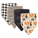 Hudson Baby® 4-Pack Forest Cotton/Poly Bandana Bibs in Navy