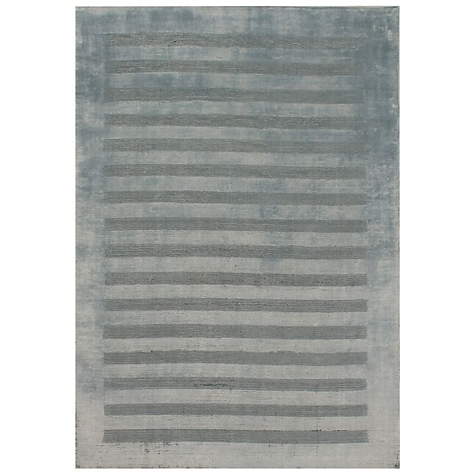 Alternate image 1 for Exquisite Rugs Wide Stripe Area Rug in Light Blue