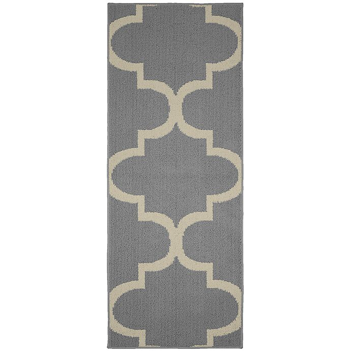 Alternate image 1 for Garland Large Quatrefoil 2-Foot x 5-Foot Area Rug in Silver/Ivory