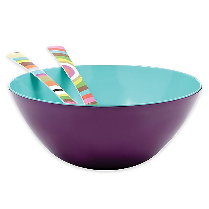 Alternate image 1 for French Bull® Two-Tone Large Serving Bowl in Grape/Turquoise