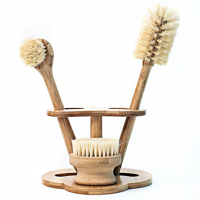 Alternate image 1 for NatureZway Bamboo Kitchen Brush Cleaning Set in Natural