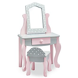 Teamson Olivia's Little World 18-Inch Doll Vanity Table and Stool Set in Grey Polka Dot