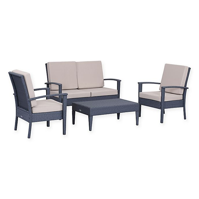 Alternate image 1 for Safavieh Myers 4-Piece Rattan Outdoor Set in Titanium/Sand