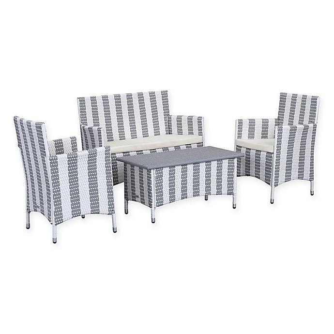 Alternate image 1 for Safavieh Figuerao 4-Piece Rattan Outdoor Set in Stripe Grey/White
