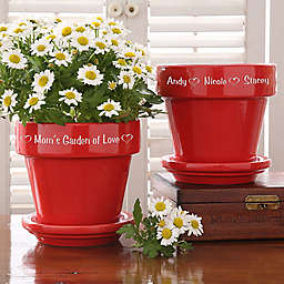 Garden of Love Engraved Flower Pot in Red