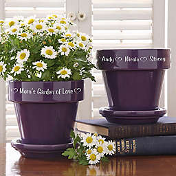 Garden of Love Engraved Flower Pot in Purple