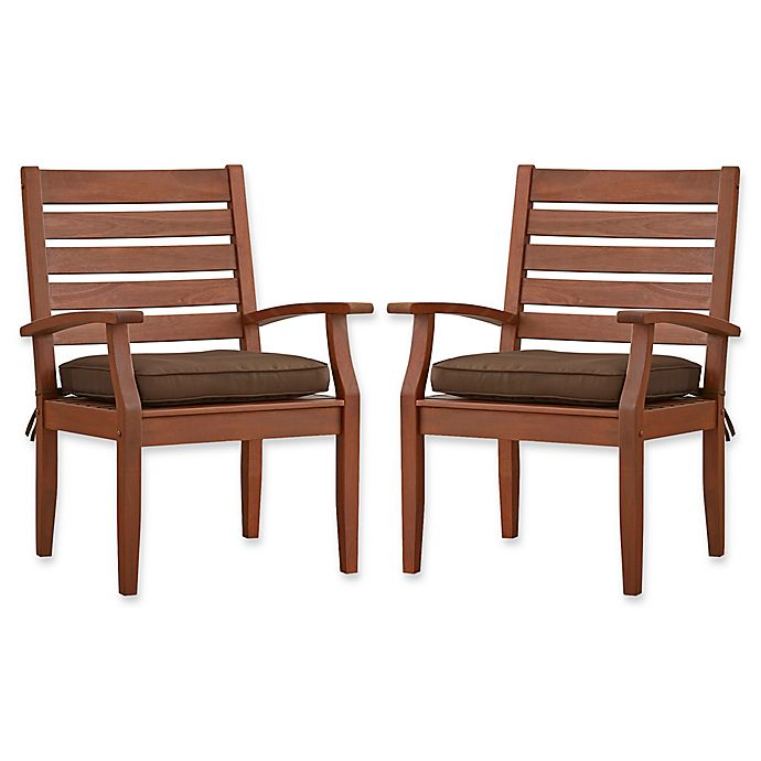 Alternate image 1 for Verona Home Pacific Grove Outdoor Dining Armchairs in Dark Brown (Set of 2)
