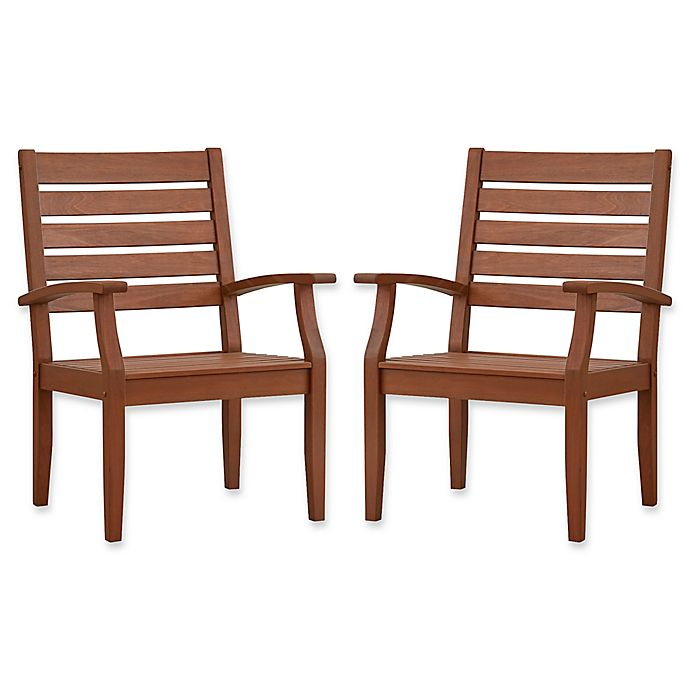 Alternate image 1 for Verona Home Pacific Grove Outdoor Dining Armchairs in Brown (Set of 2)