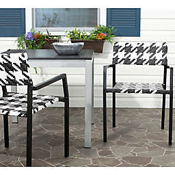 Safavieh Halden All Weather Arm Chair in White/Black