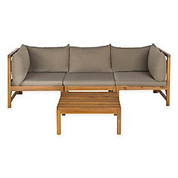 Safavieh Lynwood 4-Piece Wood Sectional Set in Teak Brown/Taupe