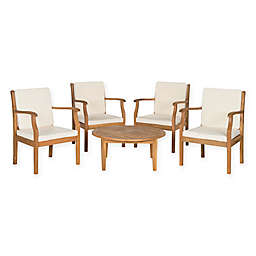 Safavieh Colfax 5-Piece Wood Coffee Set in Teak Brown/Beige