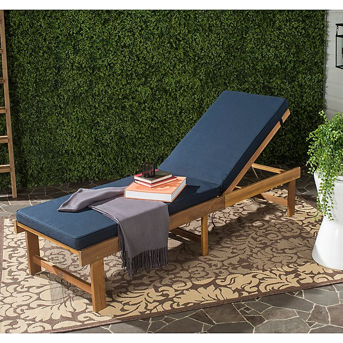Alternate image 1 for Safavieh Inglewood All Weather Chaise Lounge Chair in Brown/Navy