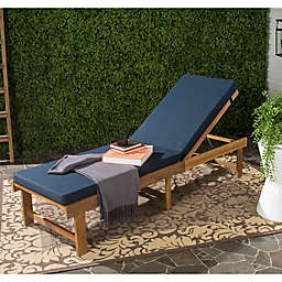 Safavieh Inglewood All Weather Chaise Lounge Chair in Brown/Navy