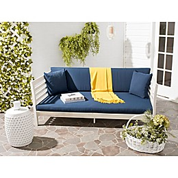 Safavieh Malibu Wood Outdoor Daybed in Antique White/Navy