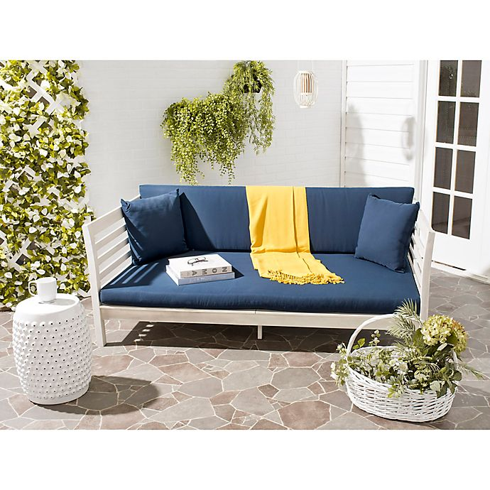 Alternate image 1 for Safavieh Malibu Wood Outdoor Daybed in Antique White/Navy