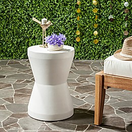 Safavieh Torre Concrete Accent Drum Table in Ivory
