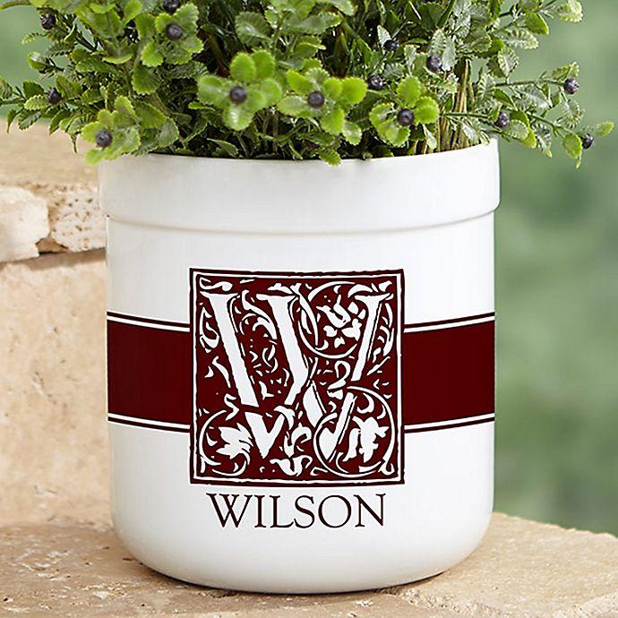Alternate image 1 for Floral Monogram Outdoor Flower Pot