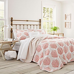 Laura Ashley® Coral Coast Quilt Set in Coral