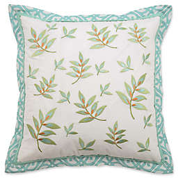 Waverly® Modern Poetic Leaf Square Throw Pillow in Teal