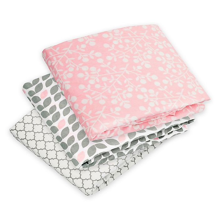 Alternate image 1 for kushies® Print Flannel Fitted Crib Sheet