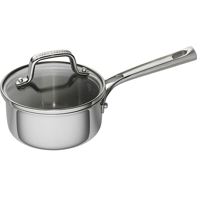 Alternate image 1 for Emeril™ 1 qt. Tri-Ply Stainless Steel Covered Saucepan