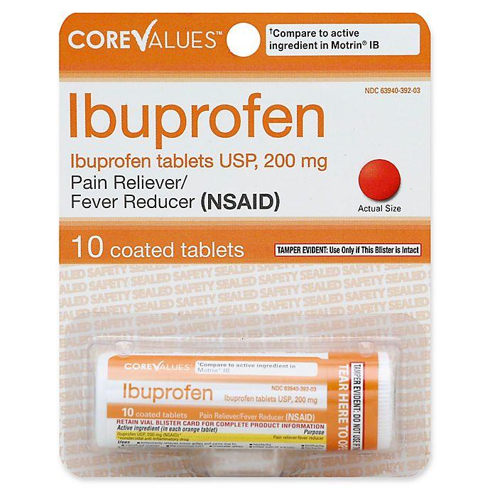 Alternate image 1 for Core Values™ 10-Count Ibuprofen USP 200 mg Orange Coated Tablets