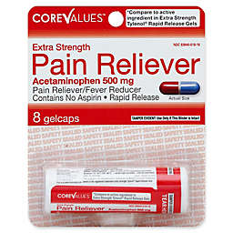 Core Values 8-Count Extra Strength Rapid Release Acetaminophen Pain Reliver 500 mg Gelcaps