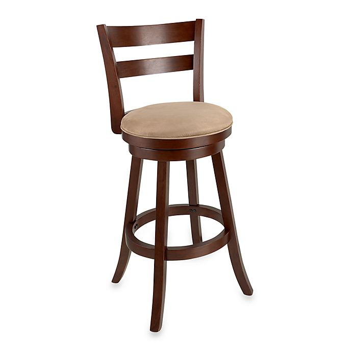 Sawyer 30 Inch Swivel Wood Bar Stool In Brown Cherry Bed