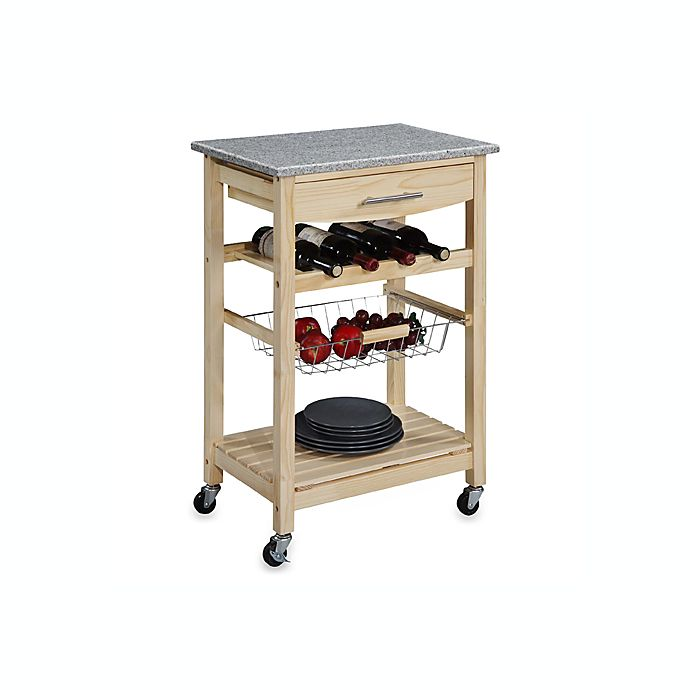 Alternate image 1 for Granite Rolling Kitchen Cart in Natural