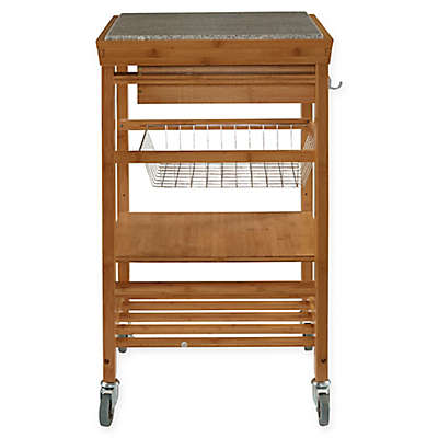 Granite Bamboo Rolling Kitchen Cart