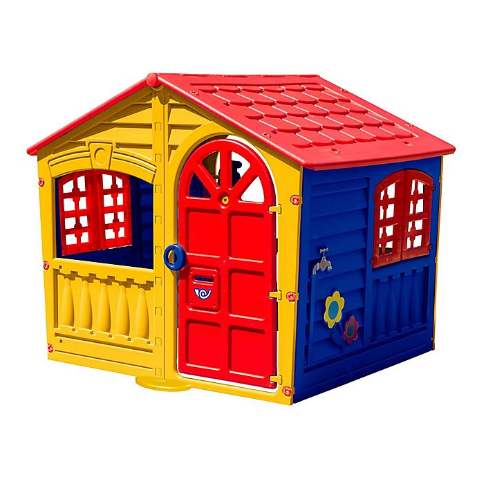 Alternate image 1 for PalPlay House of Fun Indoor/Outdoor Playhouse in Yellow/Multi