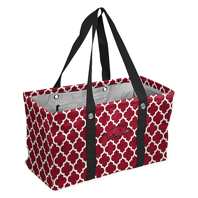 Alternate image 1 for University of Arkansas Quatrefoil Picnic Caddy Tote in Cardinal