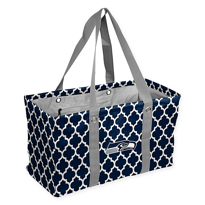 Alternate image 1 for NFL Seattle Seahawks Quatrefoil Picnic Caddy in Navy
