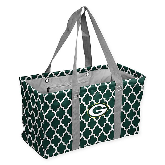 Alternate image 1 for NFL Green Bay Packers Quatrefoil Picnic Caddy in Hunter