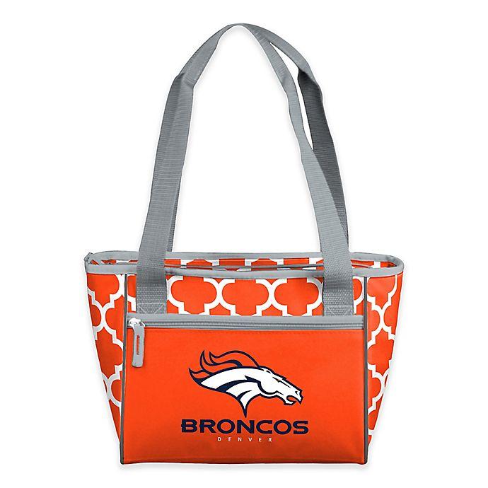 Alternate image 1 for NFL Denver Broncos Quatrefoil 16-Can Cooler Tote in Carrot
