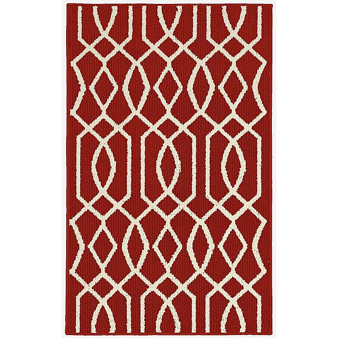Alternate image 1 for Garland Fretwork 2-Foot 6-Inch x 3-Foot 10-Inch Accent Rug in Red/Ivory
