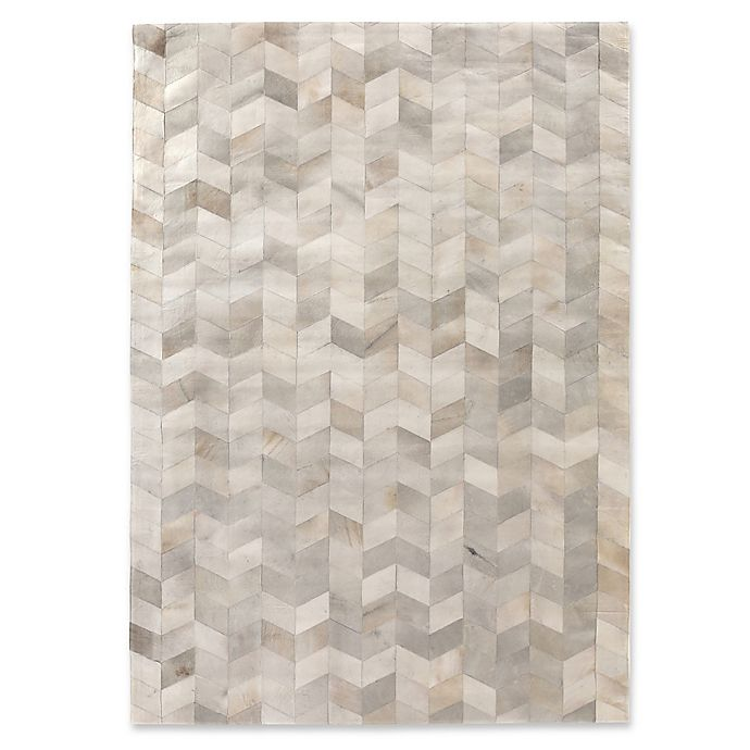 Exquisite Rugs Herringbone Cowhide Rug In Ivory Bed Bath