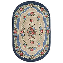 Brumlow Mills Heartwood 2-Foot 6-Inch x 3-Foot 10-Inch Oval Washable Accent Rug in Nantucket Blue