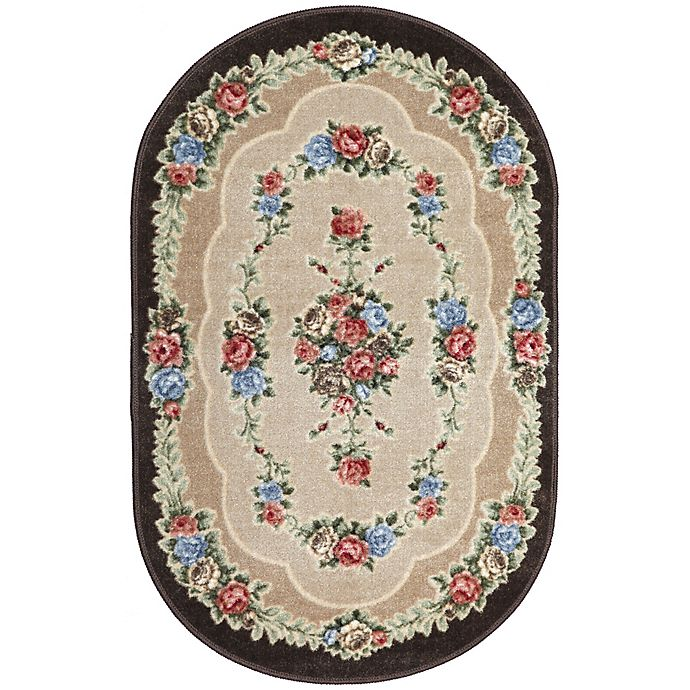 Alternate image 1 for Brumlow Mills Heartwood 2-Foot 6-Inch x 3-Foot 10-Inch Oval Washable Accent Rug in Chocolate
