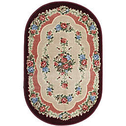 Brumlow Mills Heartwood 3-Foot 3-Inch x 5-Foot 4-Inch Oval Washable Accent Rug in Burgundy