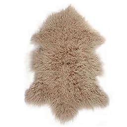 Luxe Mongolian Faux Fur Sheepskin 2-Foot x 3-Foot Accent Rug