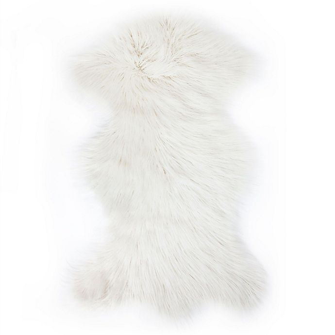 Alternate image 1 for Luxe Mongolian Faux Fur Sheepskin 2-Foot x 3-Foot Accent Rug in White