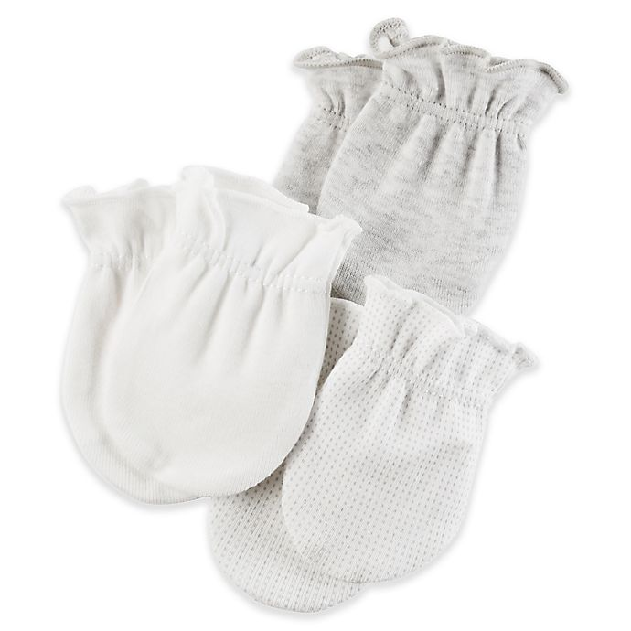 Alternate image 1 for carter's® Size 0-3M 3-Pack Mittens in Grey