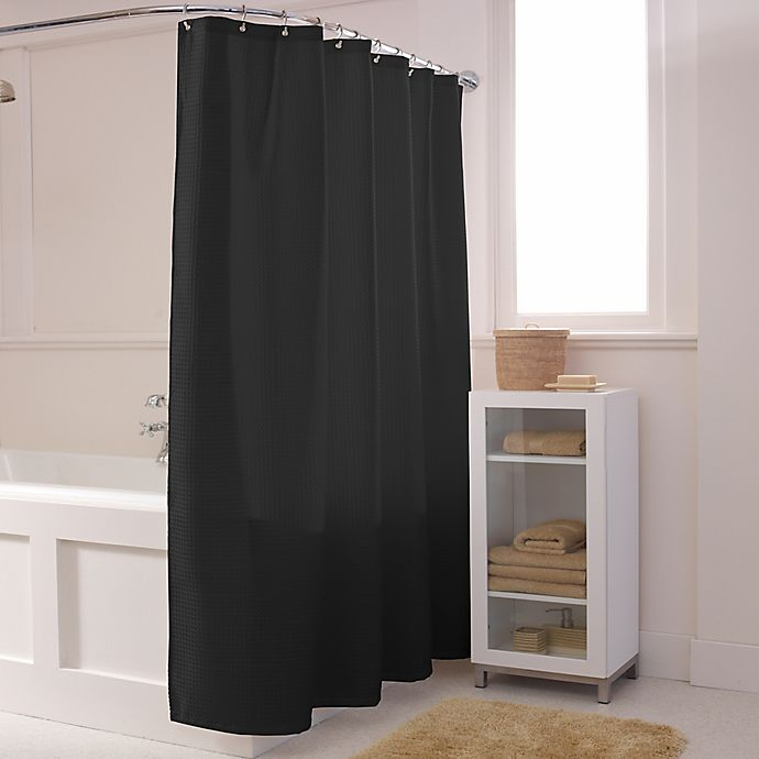 Alternate image 1 for Maytex Waffle Shower Curtain in Black